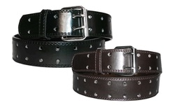 Unisex 2-hole Leather Belts 2-pack - Black & Brown - Size: Medium