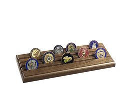 4 Row Military Challenge Coin Rack - Natural Walnut