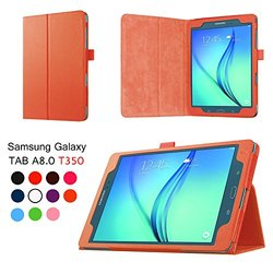 Elsse for Galaxy Tab A 8.0 - Premium Folio Case with Stand and Stylus Hoop (Stylus Not Included) for Galaxy Tab A 8.0 - Inch Tablet (Orange)