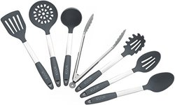Kuuk Kitchen Utensil Set - BPA Free - Stainless Steel & Silicone - 7 Pieces