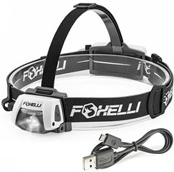 Foxelli USB Rechargeable Headlamp Flashlight, Ultra Bright Cree Led, Waterproof(IPX7), Impact Resistance, Lightweight & Comfortable, Adjustable Headband, Easy to Use, 100 Hours Battery Life On a Single Charge