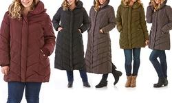 Semi Memory Hooded Chevron Quilted Coat: Merlot-standard/1x