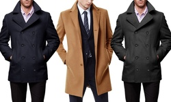 Braveman Men's Double Breasted Wool Blend Coats - Camel  - Size: XL