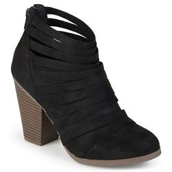Journee Collection Women's Faux Suede Ankle Boots- Black - Size : 7.5MED