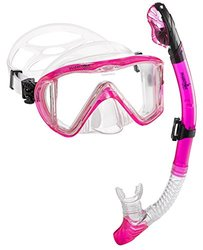 Phantom Aquatics Signature Master View Mask Dry Snorkel Set, Pink