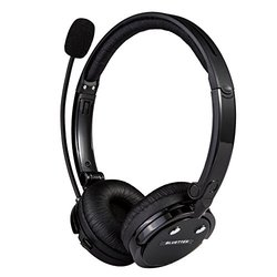 Bluetooth Headset, BLUETTEK  Stereo Wireless Head-wearing headphones With Boom Mic, 12 Hours Talking Time & 4 x Noise Cancellation (Black)