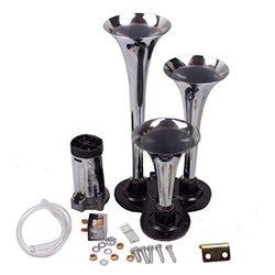 Betooll Chrome 12V Triple Trumpet Air Horn Compressor Kit (BRT-15-3068)