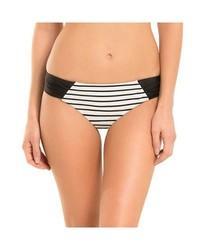 Shade & Shore Women's Hipster Stripe Bikini Bottom - White/Black - Size: 8
