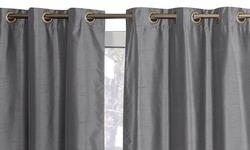 "Wexley Home 38""x84"" Textured Foamback Blackout GWC Pair - Light Grey"