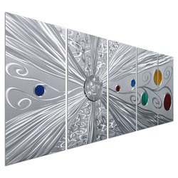 """Pure Art Silver Metal Space Colorful Circles Wall Art Set of 5 - 64"""" x 24"""""""