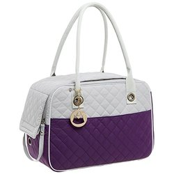MG Collection Purple / Gray Designer Quilted Soft Sided Travel Dog and Cat Pet Carrier Tote Hand Bag