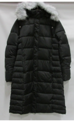 Women's Long Bubble Parka Jacket with Detachable Hood - Black - Size: M