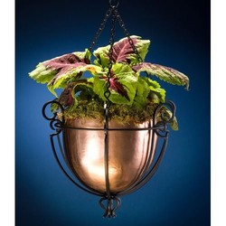 H Potter Round Copper & Wrought Iron Hanging Basket