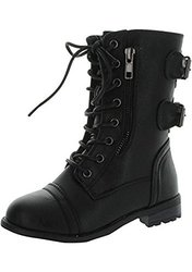 Valerie Shoe Mango 61K Girls Zipper Military Combat Boot - Black - Size: 2