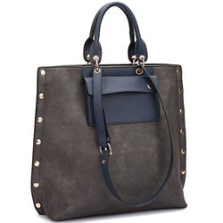 Dasein Tote With Front Pocket And Gold Snap Accents: Grey/navy