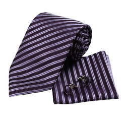 Y&G Striped Luxury Ties Economics Silk Cufflinks Set 3PT - Blue