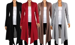 Knee-length Hacci Cardigan: Burgundy/small