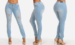 Women's Juniors One-Button Distressed Skinny Jeans - Light Blue - Size: 5
