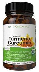 NativOrganics Organic Turmeric Curcumin Supplement - 60 Veg Caps