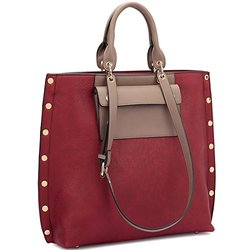 Dasein Tote With Front Pocket And Gold Snap Accents - Red/Taupe