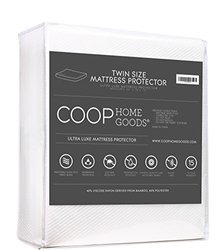 Ultra Luxe Bamboo Derived Viscose Rayon Mattress Pad Protector Cover By Coop Home Goods - Cooling Waterproof Hypoallergenic Topper - Twin - White