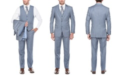 Verno Men's Striped Classic Fit Suit Suit 3 Piece - Blue - Size: 40Sx34W