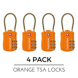 TravelMore Travel Combination Cable Luggage Locks - Orange - Pack of 4