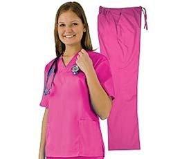 Women's Scrub Set - Medical Scrub Top and Pant, Hot Pink, XX-Large