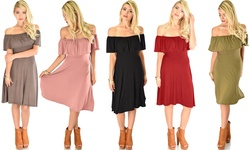 Women's Wait and See Off-the-Shoulder Midi Dress Mauve/Small