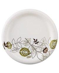 "Mediumweight Paper Plates 6 7/8"" WiseSize - Green/Burgundy - (UX7WSPK)"