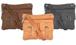 Afonie Functional Multi Pocket Leather Crossbody Handbags: Beige