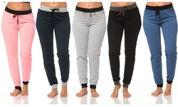 Women's Long Joggers: Coral/Navy/H.grey/Black/Denim - Size: Small