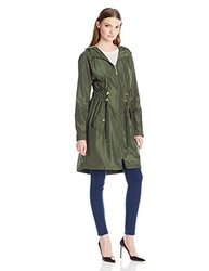 Kensie Anoraks And Trenches: Drawstring Anorak-army/xl