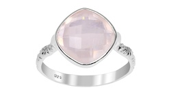 Orchid Jewelry Women's 3.55 CTW Genuine Rose Quartz Ring - Sterling Silver