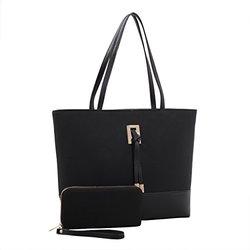 Nora Suede Tote Handbag And Wallet Set: Black