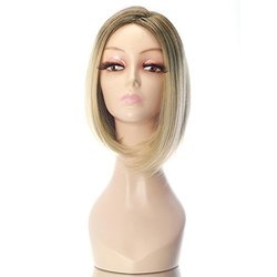 "Rabbitgoo Short Flapper Straight Bob Stylish Dark Roots Heat Friendly Cosplay Party Hair Blonde Wig 15.7"" (Light Gold)"