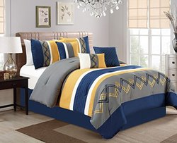 7 Piece Chevron Embroidered Navy/Yellow/Gray Comforter Set Cal King