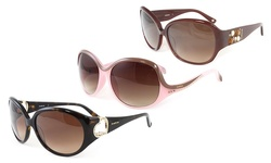 Bebe Sunglasses: Bb7029-001 Pink Frame-brown Gradient Lens