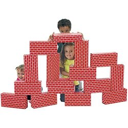 Smart Monkey Toys - ImagiBricks - Giant Building Blocks - Red - 16 count