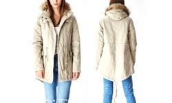 Lady Cotton Parka Jacket W/ Fur Lined Hood Barley - Size Medium