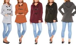 Women's Fleece Hooded Toggle Coat: Burgundy - Large