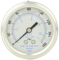 PIC Gauge Glycerin Filled Center Back Mount Pressure Gauge