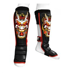 Tuff Muaythai Boxing Training Leather Shin Guards - Dragon - Black