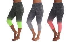 Women's Twotone Yoga Capris: Black & Coral/black & Gray/black & Neon Green-xl