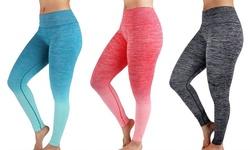 Women's 3-Pack Yoga Leggings - Black/Jade-Mint/Pink - Size: Medium
