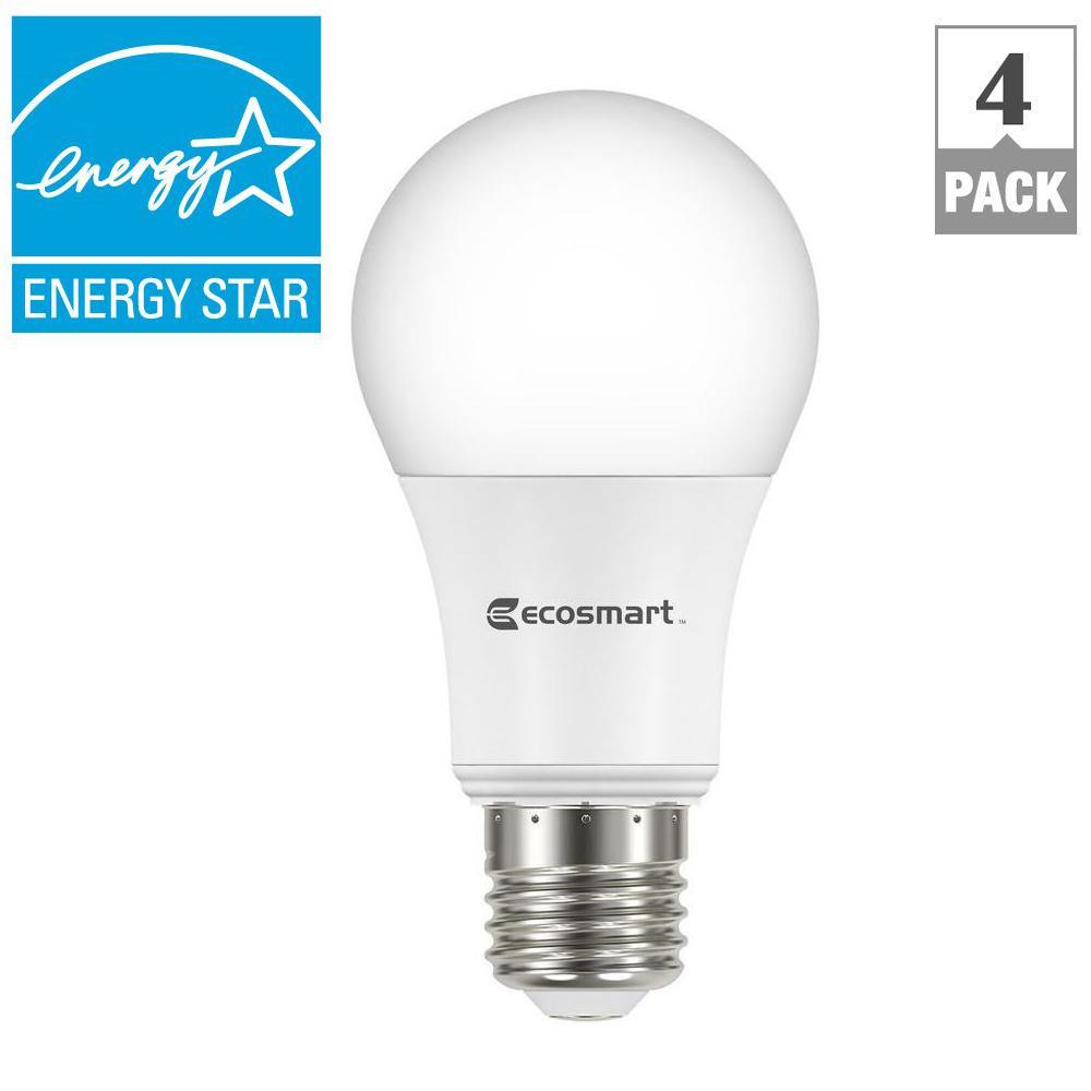 EcoSmart 4-Pc 60W Equivalent Bright White LED Light Bulb ...