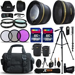 Canon EOS Rebel T6S ACCESSORIES Kit Includes: 58mm High Definition 2X Telephoto Lens + 58mm High Definition Wide Angle Lens + 32GB High Speed Memory Card + 16GB High Speed Memory Card (Total of 48GB) + Full Size Pro Series 72 Inch Tripod + Large Well Padd