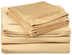 650TC Cotton Solid Split King 5PC Sheet Set  Gold