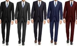 Braveman Slim Fit 3-piece Suit With Free Tie: Navy/50lx44w
