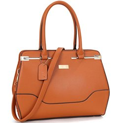 Dasein Ny Fashion Gold-tone Satchel Handbag: Brown